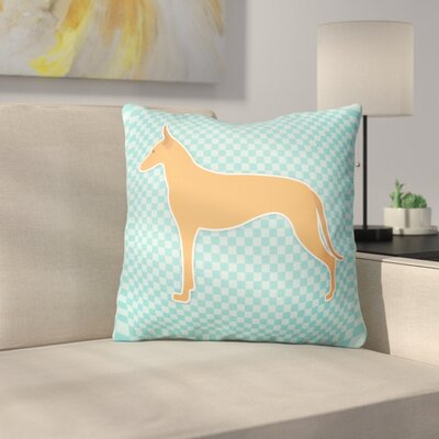 Pharaoh Hound Square Indoor/Outdoor Throw Pillow Size: 18 H x 18 W x 3 D, Color: Blue