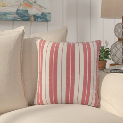 Capri Stripes Cotton Throw Pillow Color: Red