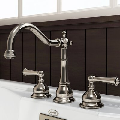 Barrea Bridge Widespread Double Handle Bathroom Faucet with Drain Assembly Finish: Polished Nickel
