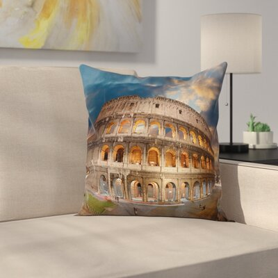 Italian Decor Colosseum Sunset Square Pillow Cover Size: 16 x 16