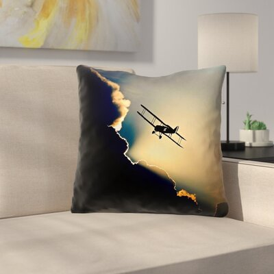Plane in the Clouds Indoor Throw Pillow Size: 14 x 14