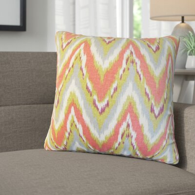 Saniyah Zigzag Cotton Throw Pillow Color: Coral