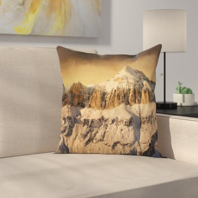 Winter Overcast Sky Mountain Square Pillow Cover Size: 16 x 16