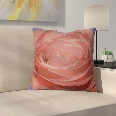 Virgil Flower Throw Pillow Size: 18 H x 18 W x 4 D, Color: Red
