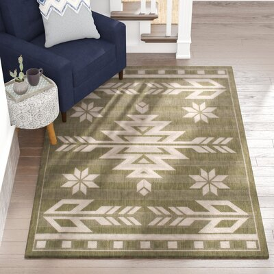 Ilana All Weather Indoor/Outdoor Sage Green Area Rug Rug Size: 5 x 7