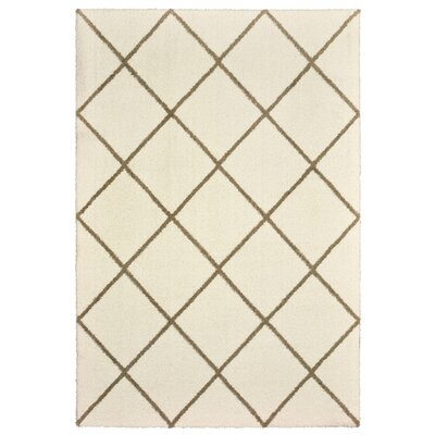 Maddox Lattice Ivory/Brown Area Rug Rug Size: Rectangle 53 x 76