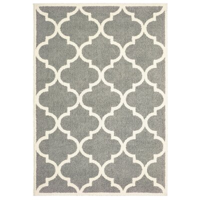 Priebe Lattice Gray/Ivory Area Rug Rug Size: Rectangle 53 x 76