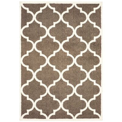 Priebe Lattice Brown/Ivory Area Rug Rug Size: Rectangle 53 x 76