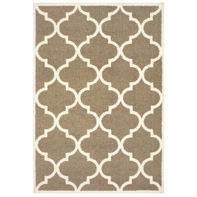 Priebe Lattice Taupe/Ivory Area Rug Rug Size: Rectangle 53 x 76