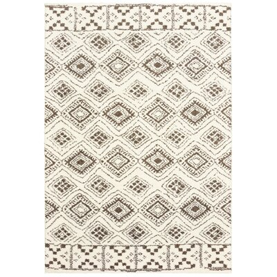 Maddox Tribal Ivory/Brown Area Rug Rug Size: Rectangle 2' x 3'