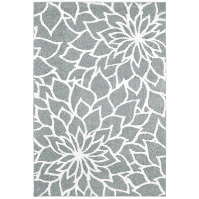 Priebe Floral Gray Area Rug Rug Size: Rectangle 53 x 76