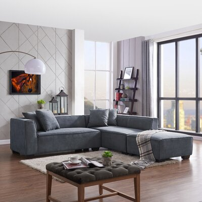 Carmean Modular Sectional with Ottoman Upholstery: Blue
