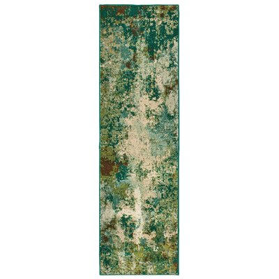 Hedberg Abstract Distressed Green/Beige Area Rug Rug Size: Rectangle 23 x 76