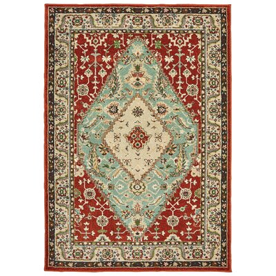 Hedberg Medallion Rust/Blue Area Rug Rug Size: Rectangle 310 x 55