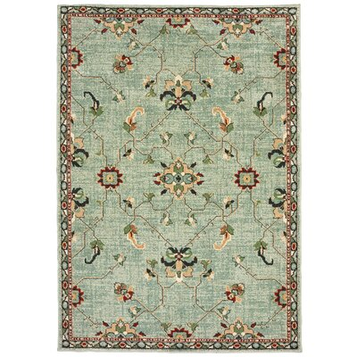 Hedberg Traditional Floral Light Green/Beige Area Rug Rug Size: Rectangle 310 x 55