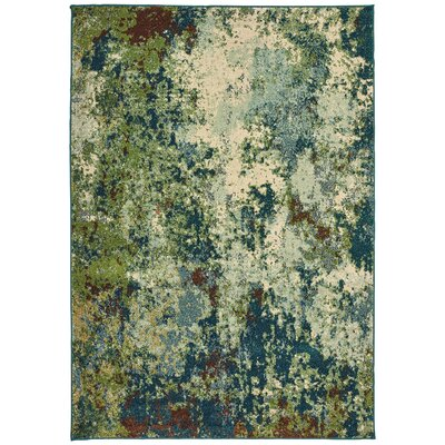 Hedberg Abstract Distressed Green/Beige Area Rug Rug Size: Rectangle 310 x 55