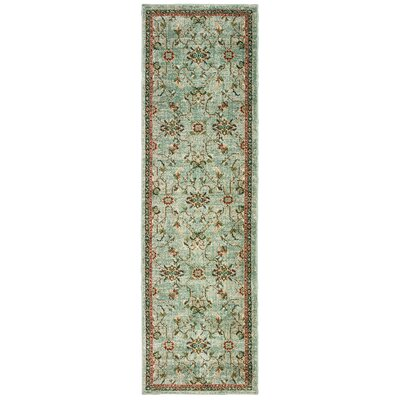 Hedberg Traditional Floral Mint Green/Beige Area Rug Rug Size: Rectangle 23 x 76