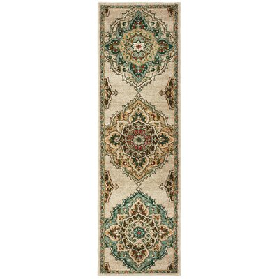 Hedberg Medallions Beige/Green Area Rug Rug Size: Rectangle 23 x 76