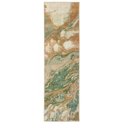 Hedberg Abstract Green/Gold Area Rug Rug Size: Rectangle 23 x 76