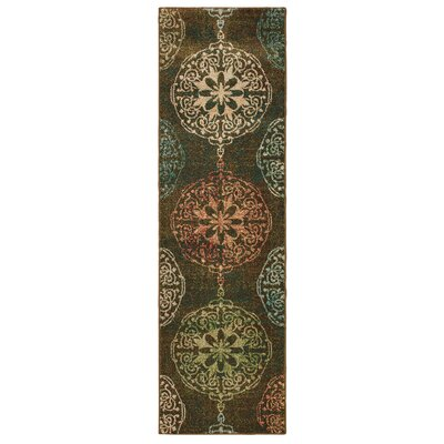 Hedberg Medallions Brown/Green Area Rug Rug Size: Rectangle 23 x 76