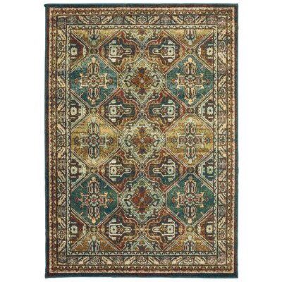 Hedberg Teal/Brown Area Rug Rug Size: Rectangle 310 x 55