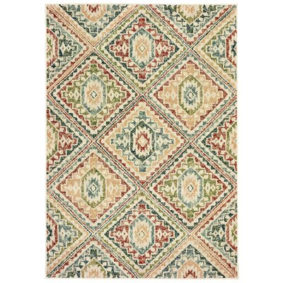 Hedberg Tribal Ivory/Green Area Rug Rug Size: Rectangle 310 x 55