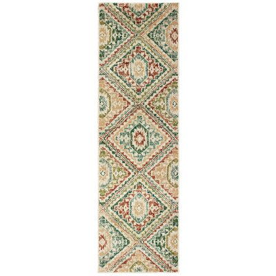 Hedberg Tribal Ivory/Green Area Rug Rug Size: Rectangle 23 x 76
