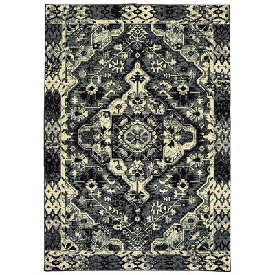 Hedden Tribal Medallion Black/Ivory Area Rug Rug Size: Rectangle 53 x 76