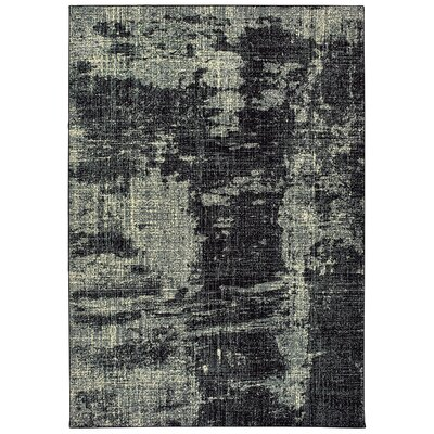 Hedden Distressed Black/Gray Area Rug Rug Size: Rectangle 67 x 96