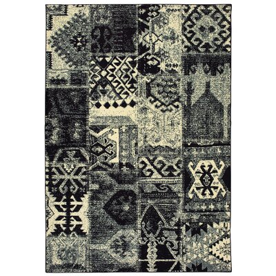 Hedden Tribal Black/Ivory Area Rug Rug Size: Rectangle 53 x 76