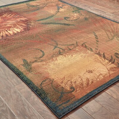Hinson Brown/Gold Area Rug Rug Size: Rectangle 53 x 76