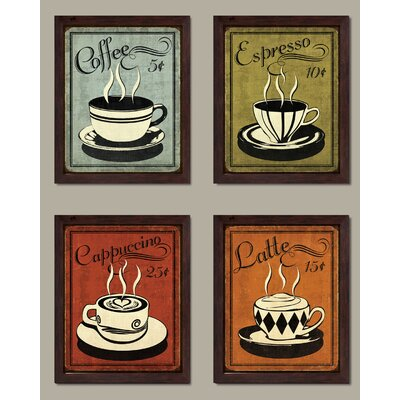 "Classic and Colourful Retro Coffee Prints; Set of Four 8"" x10"" Black Framed Art Print Posters; Ready to hang! 7A9BAEB4D3B847CA8D1C62BDF2ABD79F"