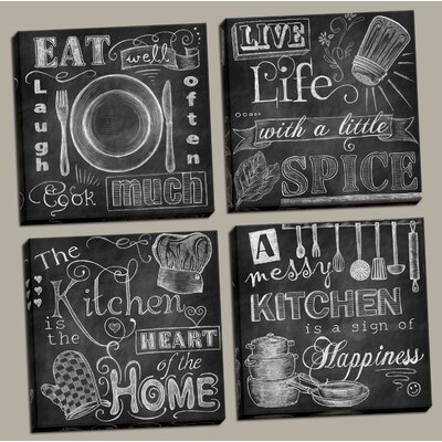 'Beautiful, Fun, Chalkboard Kitchen Signs; Messy Kitchen, Heart of the Home, Spice of Life, and Cook Much' 4 Piece Framed Graphic Art Print Set