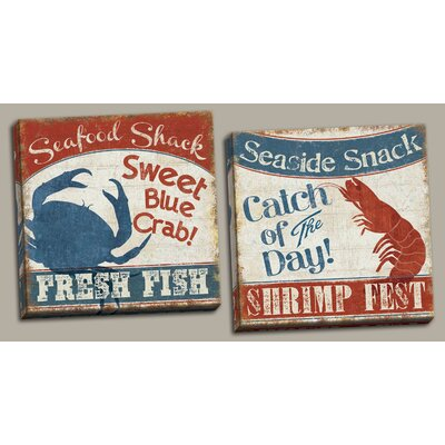 'Fresh Seafood Nautical Retro Blue Crab and Red Lobster' Graphic Art Print Set on Canvas CA329F12766C489CA869A0FFF5C34531