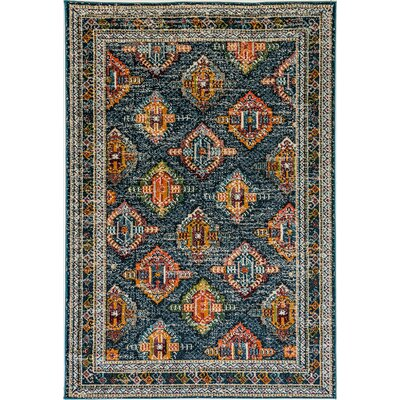 Corson Blue/Orange Area Rug Rug Size: Rectangle 710 x 1010