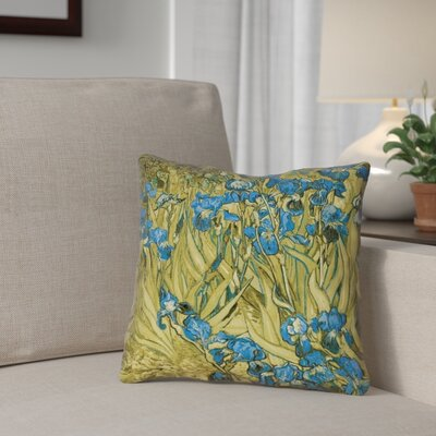 Bristol Woods Irises Throw Pillow Color: Yellow/Blue, Size: 16 x 16