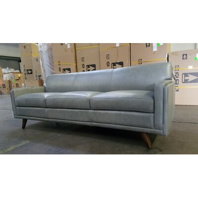 Ari Mid-Century Leather Sofa Upholstery: Gray
