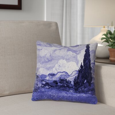 Meredosia Wheat Field with Cypresses 100% Cotton Pillow Cover Color: Blue, Size: 26 H x 26 W
