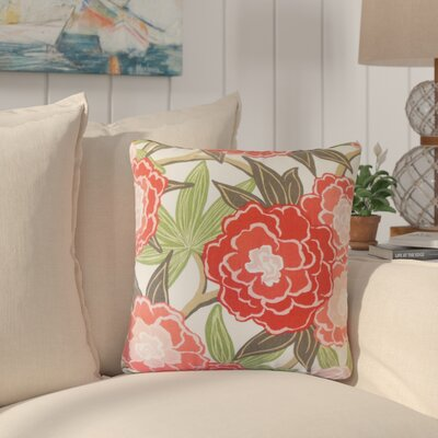 Akeeta Floral Cotton Throw Pillow Color: Coral