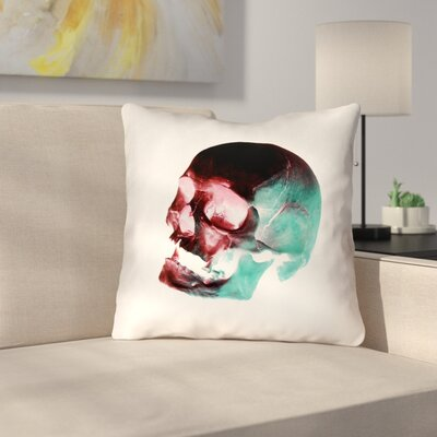 Skull Outdoor Throw Pillow Color: Red/Blue/Black/White, Size: 16 x 16