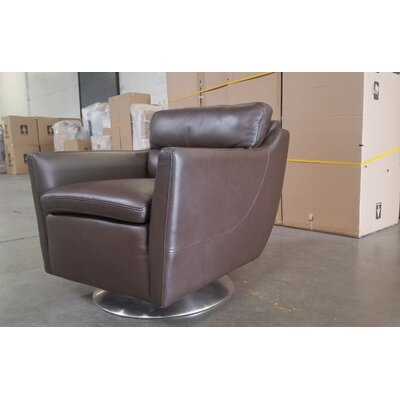 Heitman Swivel Club Chair Body Fabric: Brown