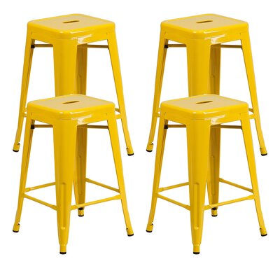 Farwell Backless 24 Bar Stool Color: Yellow