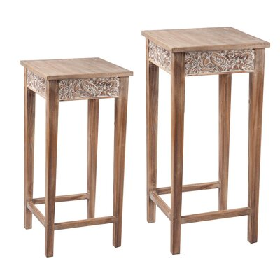 Paulus Carved Pedestal 2 Piece End Tables
