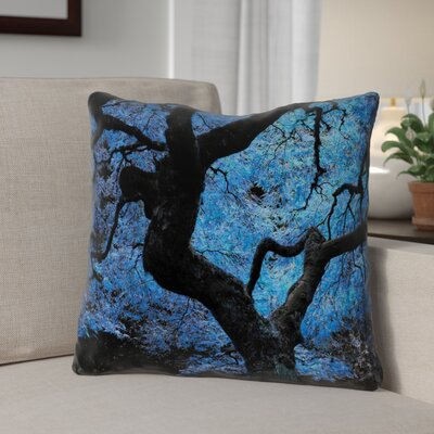 Ghost Train Rustic Japanese Maple Tree Throw Pillow Size: 18