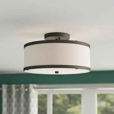 Cana 2-Light Drum/Cylinder Shade Semi Flush Mount Finish: Bronze, Size: 7.5 H x 13 W x 13 D