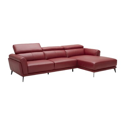 Huguley Cow Hide Sectional Upholstery: Red, Orientation: Left Hand Facing