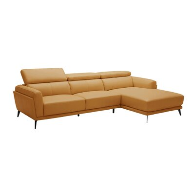 Huguley Cow Hide Sectional Upholstery: Orange, Orientation: Left Hand Facing