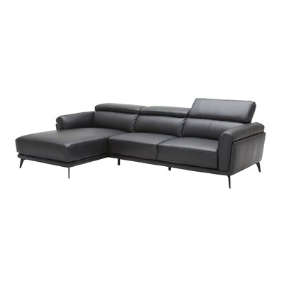 Huguley Cow Hide Sectional Upholstery: Black, Orientation: Right Hand Facing
