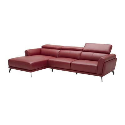 Huguley Cow Hide Sectional Upholstery: Red, Orientation: Right Hand Facing