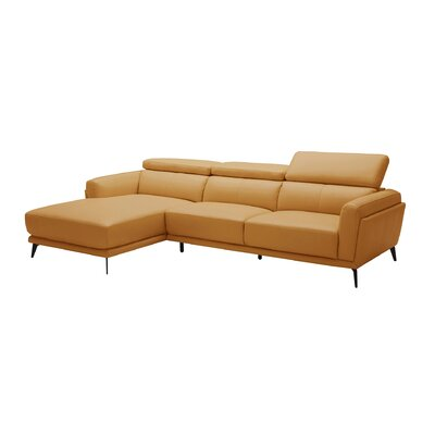 Huguley Cow Hide Sectional Upholstery: Orange, Orientation: Right Hand Facing